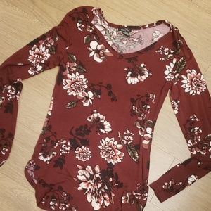 Burgandy flowered long sleeve
